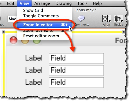 Zoom function in editor