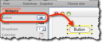 Drag a widget from the left toolbar onto the canvas