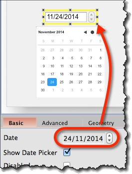 Calendar widget date-picker