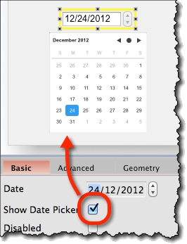Displaying date picker