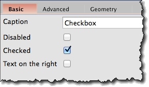 Checkbox widget basic properties
