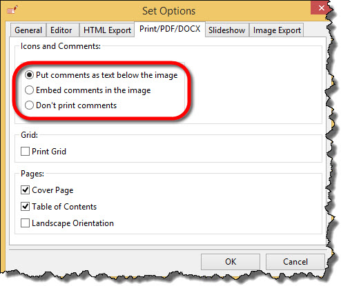 Comments options