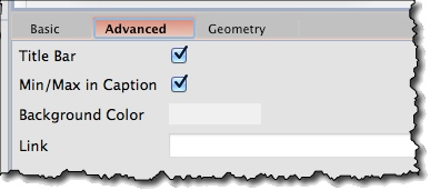 Dialog widget advanced properties