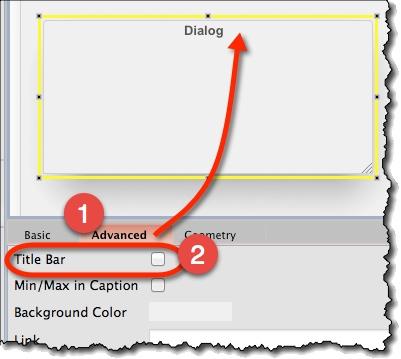 Titlebar of dialog widget