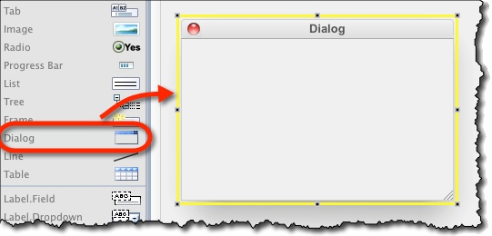 Drag dialog from left toolbar onto canvas