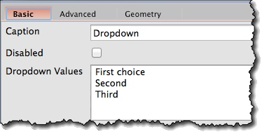 Dropdown widget basic properties