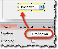 Editing dropdown widget