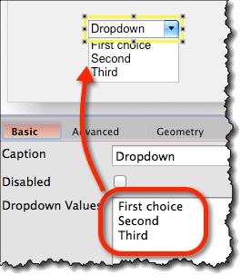 Displaying dropdown items