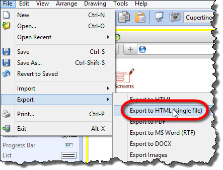 Export to single page HTML