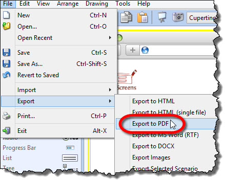 Export to PDF from File Export menu