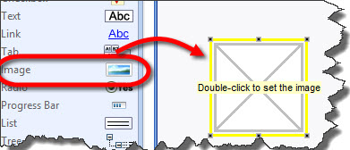 Drag image widget from the left toolbar onto the canvas