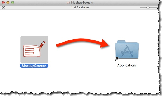 On Mac drag MockupScreens icon into Applications folder