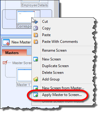 Apply master to a screen
