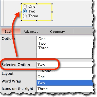 Specifying selection in radio button