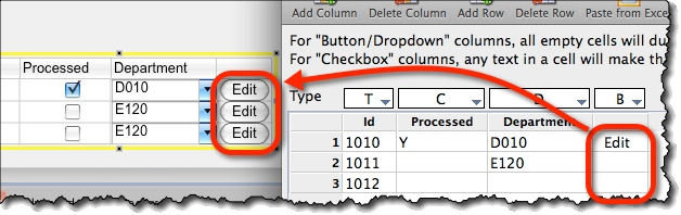 Auto-filling table columns