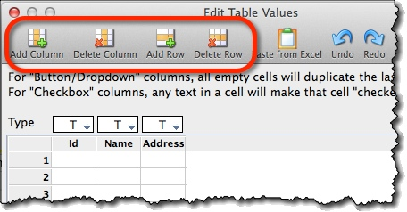 Adding rows and columns to the table