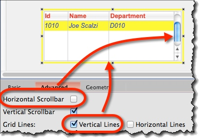 Adding scrollbars and gridlines to the table