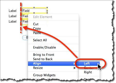 Align selected widgets from the right-click menu