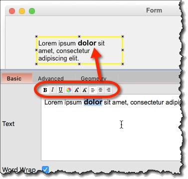 Text formatting via formatting toolbar in propery panel